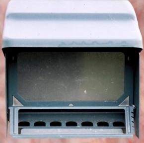 Gravity door bird feeder designed to resist squirrel predation on the feeder.