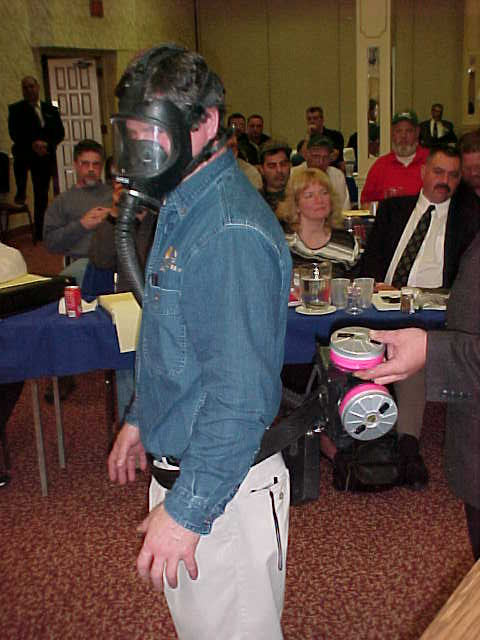 full face respirator as worn by Alan Huotr. Photo by Stephen M. Vantassel